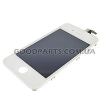 Дисплей с тачскрином и рамкой для iPhone 4S белый (Оригинал)