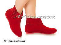 Женские ботинки красный замш
