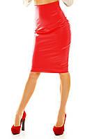 Кожаная юбка-карандаш  миди с завышенной  талией красная