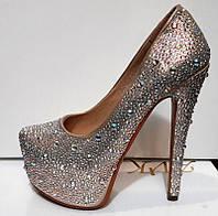 Туфли женские Лабутен Louboutin серебро в стразах KF0196