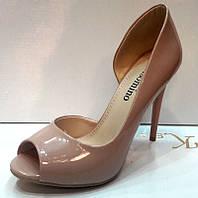 Туфли на высоком каблуке открытый носок лаковые бежевые KF0214