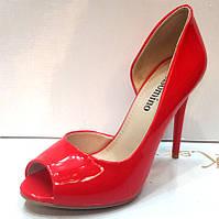 Туфли на высоком каблуке открытый носок лаковые красные  KF0214