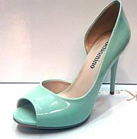 Туфли на высоком каблуке открытый носок лаковые мятные   KF0214