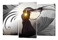 Модульная картина 222 любовь под зонтом