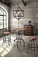 Стол, стулья и люстра в стиле лофт
