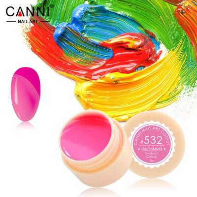 Гель-краска Canni 532 насыщенная ярко-розовая.