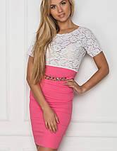 Женское бело-розовое платье (Колибри sk), фото 2