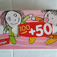 Паперові носовички Happy. 100+50шт. В картонній коробці.