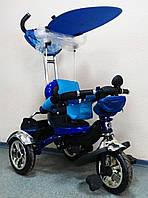 Детский трехколесный велосипед Lexus Trike KR01 синий с дополнительной подножкой колеса EVA Foam
