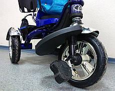 Детский трехколесный велосипед Lexus Trike KR01-А с дополнительной подножкой, надувные колеса, цвет синий, фото 3