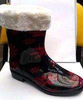 Женские резиновые сапоги с утеплителем белые и красные ромашки RS0005