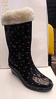 Женские резиновые сапоги с утеплителем на танкетке сбоку молния в горошек RS0003