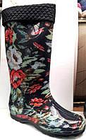 Женские резиновые сапоги высокие с утеплителем в цветы RS0017