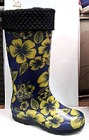 Женские резиновые сапоги высокие с утеплителем в цветы RS0018