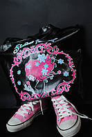 Стильная черно-розовая сумка