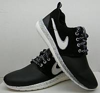 Кроссовки подростковые Nike Roshe Run кожа натуральная черные с белым NI0068