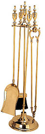 Каминный набор совок, кочерга, щипцы, метла и подставка Stilars 466
