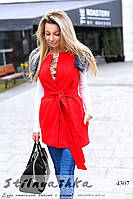 Женская кашемировая жилетка красная с мехом, фото 1