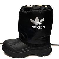 Сапоги дутики подростковые-детские зимние Adidas на меху черные синие AD0023