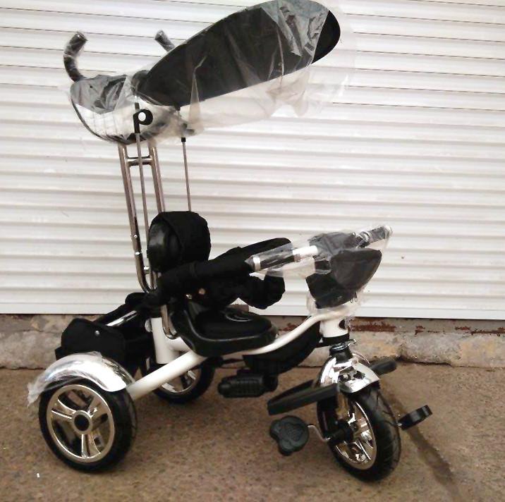 Детский трехколесный велосипед Lexus Trike KR01-А с дополнительной подножкой, надувные колеса, цвет черный