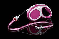 Рулетка Flexi Vario тросовый поводок длиной 5 м для собак весом до 12 кг розовый