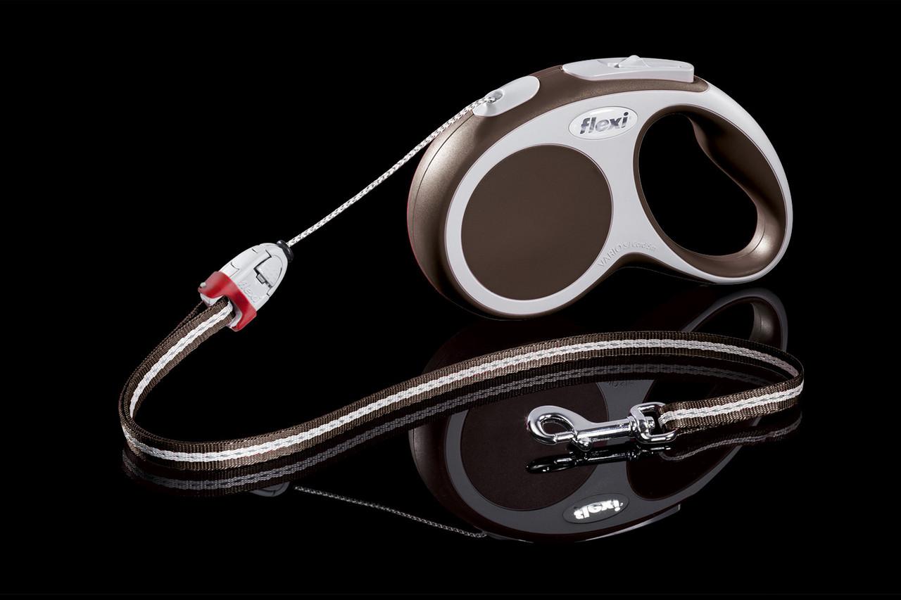 Рулетка Flexi Vario тросовый поводок длиной 5 м для собак весом до 12 кг коричневый