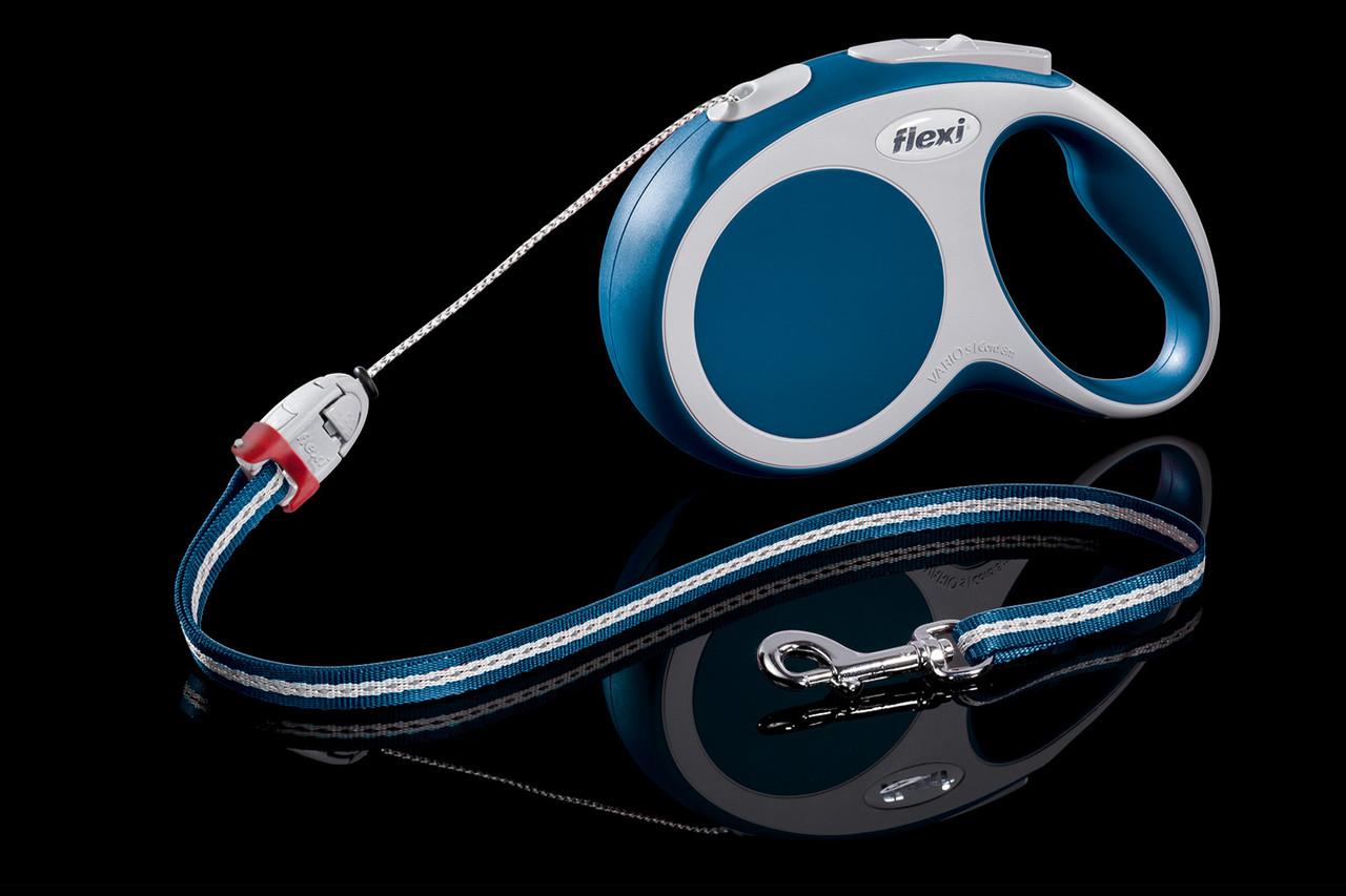 Рулетка Flexi Vario тросовый поводок длиной 8 м для собак весом до 12 кг синий