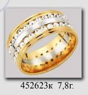Обручальное кольцо с камнями цирконами широкое сочетание белого и красного золота вес 7,80 грамм