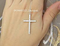 Серебряный крестик с камнями , фото 1