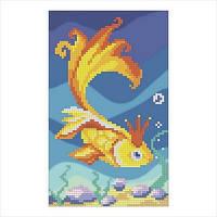 """Схема для вышивки бисером """"Золотая рыбка"""""""