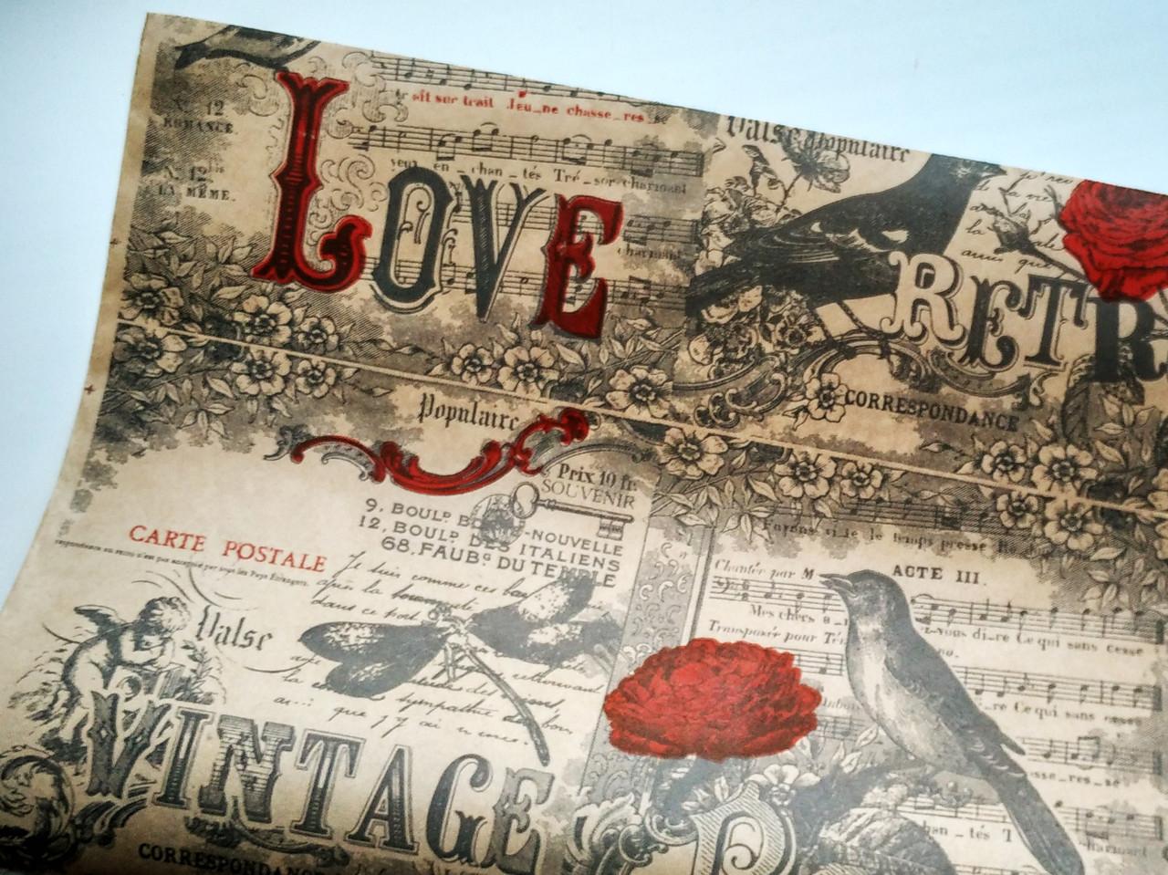 Бумага флористическая Vintage на крафте