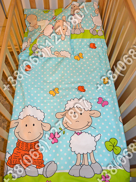Детское постельное белье в кроватку, постельный комплект (баранчик голубой)