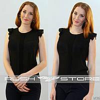 Черная шифоновая блузка с рюшами
