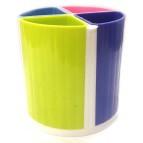 Подставка, стакан для ручек и карандашей пластик, 4-х секционный № 8040