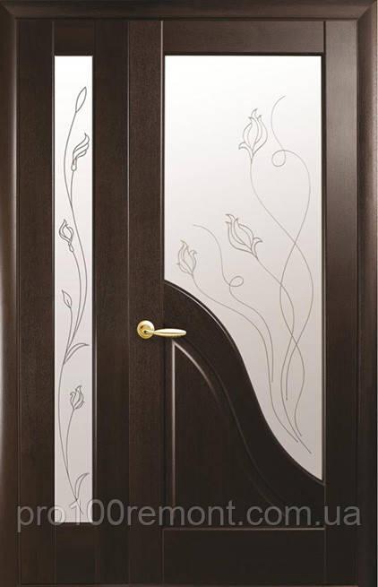 Комплект дверей двостулковий Амата з сатином і Р2 від Новий стиль (венге new, зол.вільха, каштан, ясень)