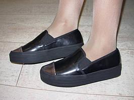 Т428 - Женские слипоны черные серебр носок