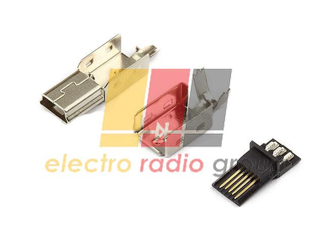 Разъем USB штекер mini USB 5P-A, для кабеля  (из 3-x деталей)