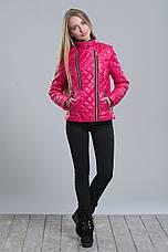 Яркая женская  стеганная куртка на синтепоне , фото 3