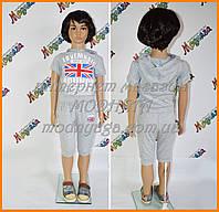 Детский костюм летний - серый британский флаг размер 92-98