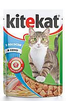 Kitekat для взрослых кошек с лососем в соусе, пауч 100 гр
