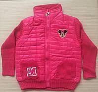 Стильная болоневая куртка с трикотажными рукавами 2-6 лет