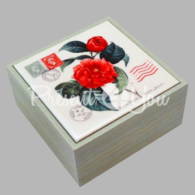 Шкатулка для бижутерии «Красная роза», 10х10х5,5 см.