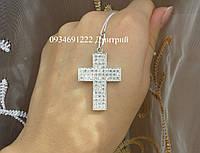 Широкий серебряный крестик с россыпью камней