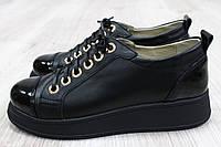 Туфли черные на шнурках дутая подошва