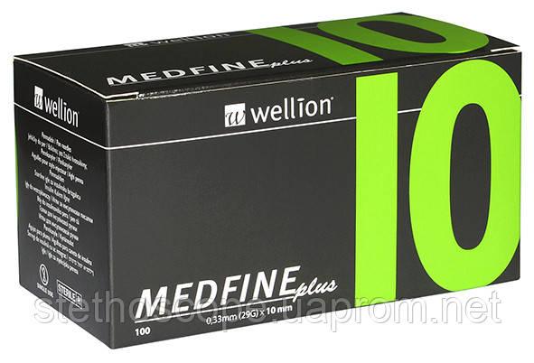 Универсальные иглы Wellion MEDFINE plus для инсулиновых шприц-ручек 10 мм ( 29G x 0,33 мм)