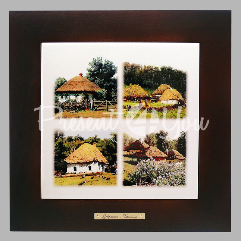 Панно настенное «Украинское село», 20х20, 28х28 см.