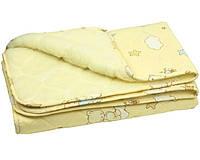 Стеганое детское одеяло-плед на овчине (140/105 см), Руно