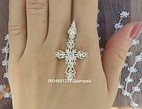 Изысканный крестик с камнями из серебра, фото 1