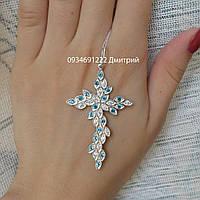Серебряный крестик с цветными камнями , фото 1