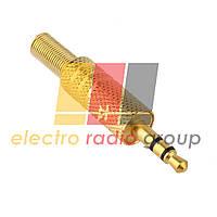 Штеκер 3,5 stereo желтый металл рифленный с метал. пружиной